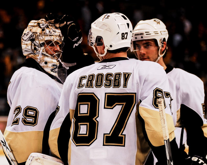 Marc-Andre Fleury et Sidney Crosby, Pittsburgh Penguins images stock