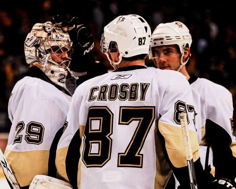 Marc-Andre Fleury y Sidney Crosby, Pittsburgh Penguins imagenes de archivo