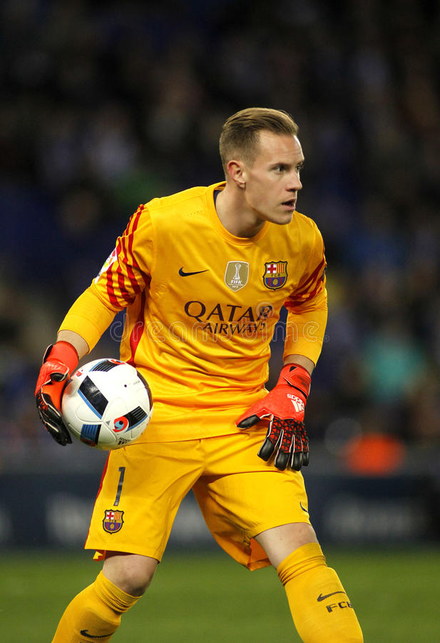 Marc-Andre ter Stegen of FC Barcelona. During a Spanish Kings Cup match against RCD Espanyol at the Power8 stadium on January 13, 2016 in Barcelona, Spain royalty free stock image