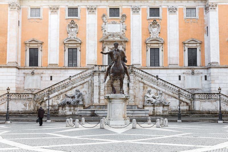 Marc Aurel,罗马, Ita Questrian雕象Capitoline小山的 库存照片
