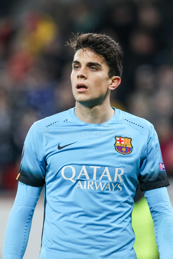 Marc Bartra during the UEFA Champions League game between Bayer. Leverkusen, Germany- December 9, 2015: Marc Bartra during the UEFA Champions League game between royalty free stock image