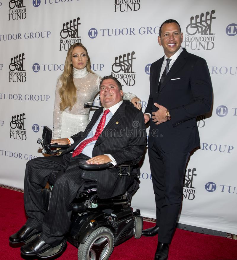 Marc Buoniconti, Alex Rodriguez, y Jennifer Lopez foto de archivo libre de regalías