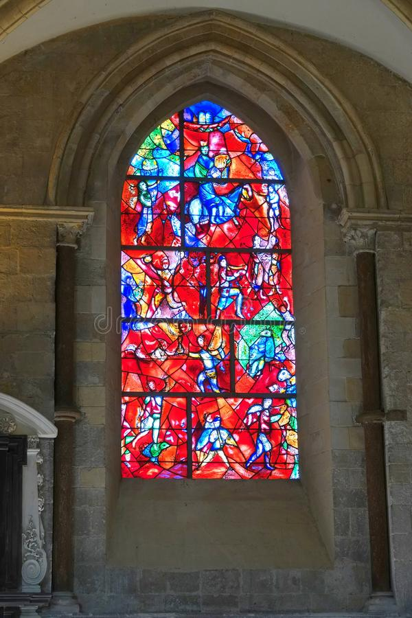 Stained glass window in Chichester cathedral stock photos