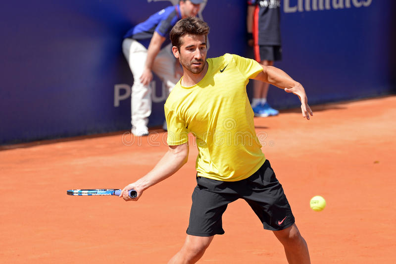 Marc Lopez (Spanish tennis player) plays at the ATP Barcelona royalty free stock photo