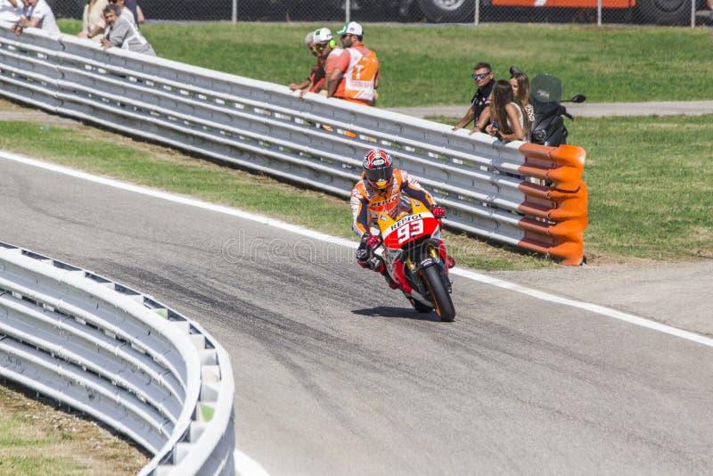 Marc Marquez de l'emballage d'équipe de Repsol Honda image libre de droits