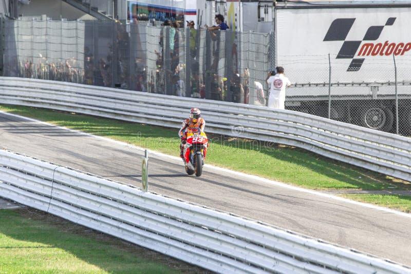 Marc Marquez de l'emballage d'équipe de Repsol Honda photos libres de droits