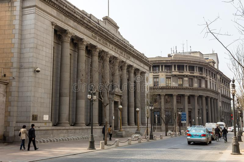 Marc 2014 - Tianjin, China - the streets in Tianjin city center are full of old European style buildings stock images