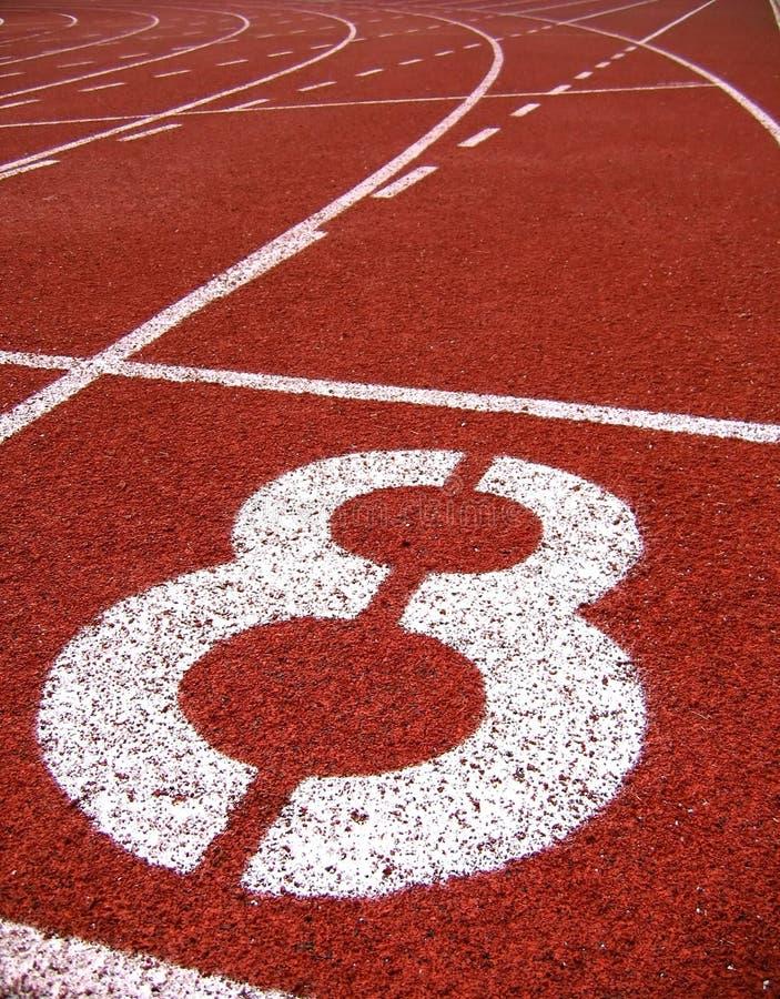 Marcações de superfície atléticas -- Número oito fotografia de stock