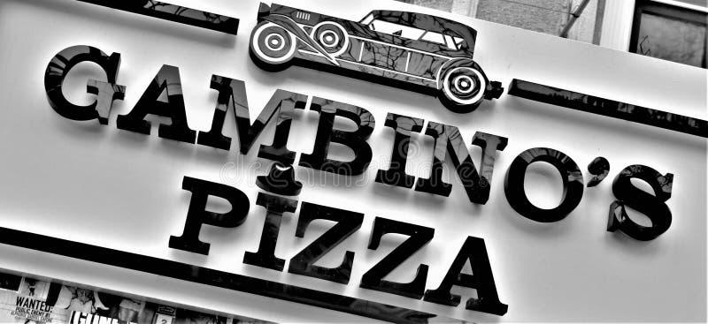 Marca americana italiana de um restaurante fotografia de stock
