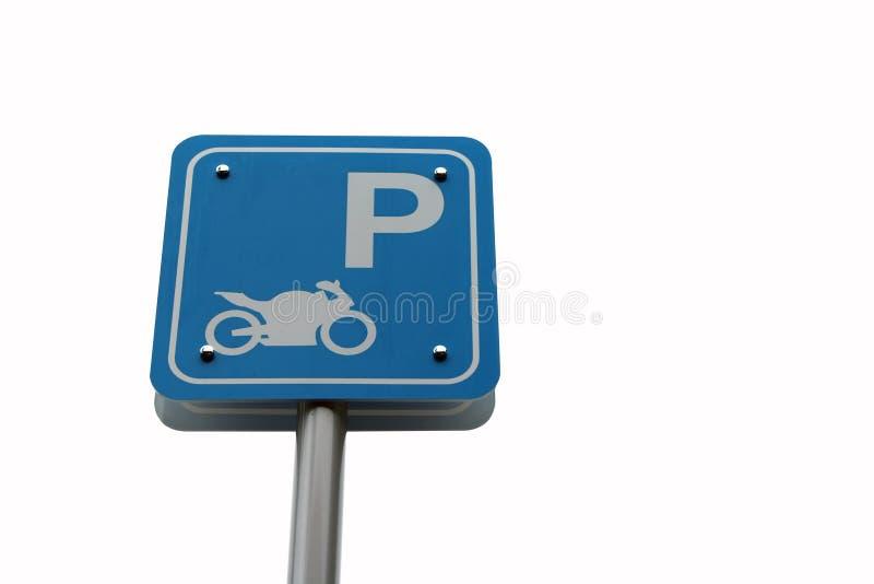 Marca azul de la muestra de la motocicleta del estacionamiento aislada en el fondo blanco La muestra del estacionamiento de la mo imágenes de archivo libres de regalías