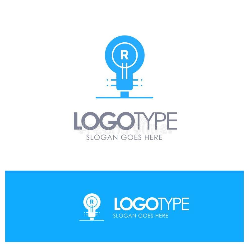Marca, concepto, auténtico, idea, Logo Blue Solid Logo con el lugar para el tagline ilustración del vector
