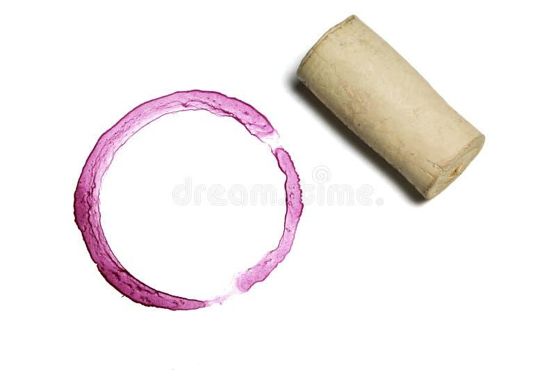 Marca da cortiça e do vinho vermelho fotografia de stock