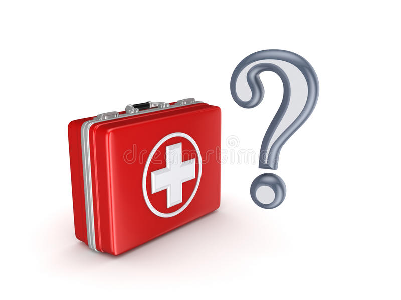 Marca da pergunta e mala de viagem médica. ilustração do vetor