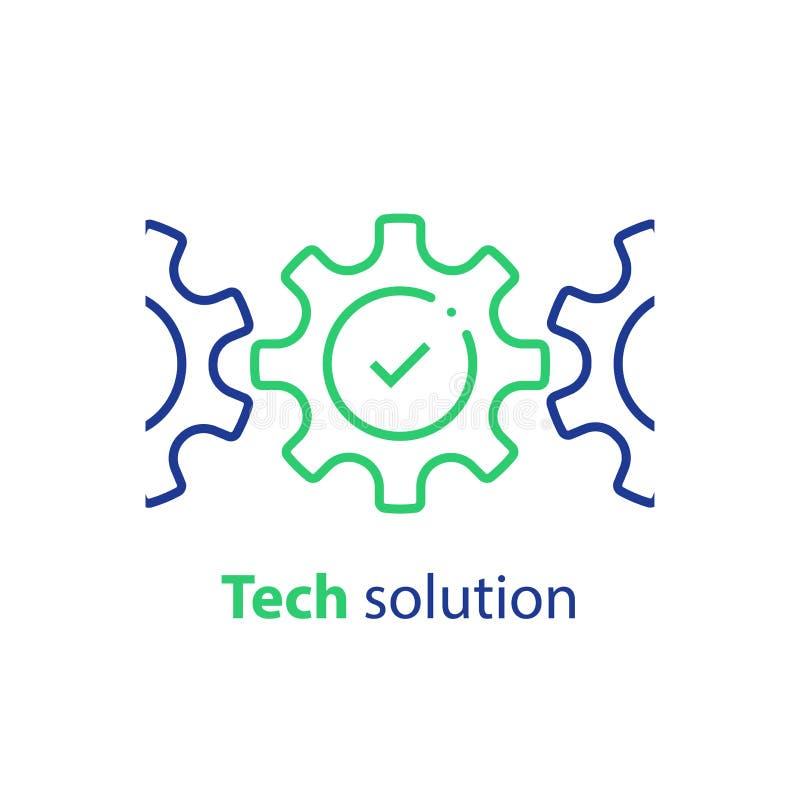 Marca da roda denteada e de verificação, conceito da integração, solução da tecnologia, conformidade do sistema, automatização de ilustração do vetor