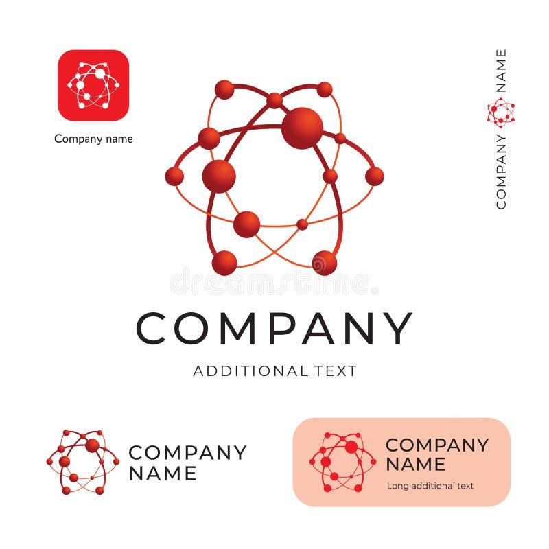 Marca de Atom Logo Modern Physics Identity Beautiful y plantilla determinada del concepto comercial del símbolo del icono del App ilustración del vector