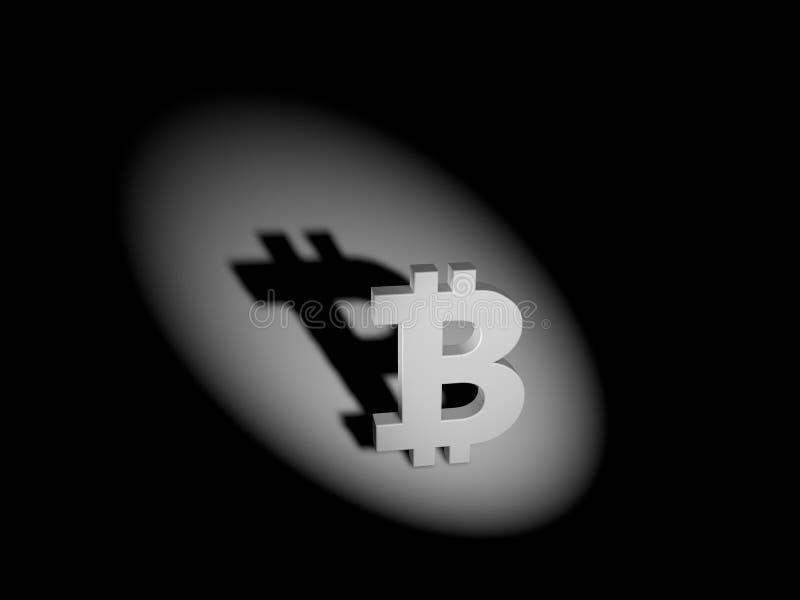 Marca de Bitcoin concepto de la economía de sombra 3d stock de ilustración