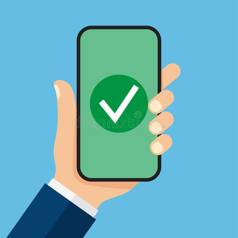 Marca de cotejo en la pantalla del smartphone ilustración del vector