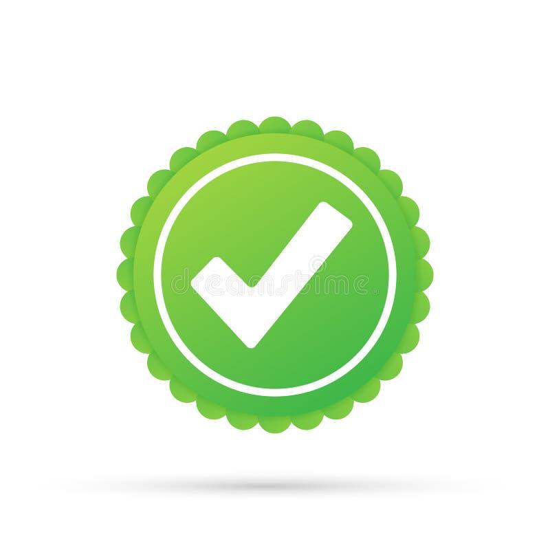 Marca de cotejo Etiqueta engomada aprobada verde de la estrella en el fondo blanco Ilustraci?n del vector libre illustration