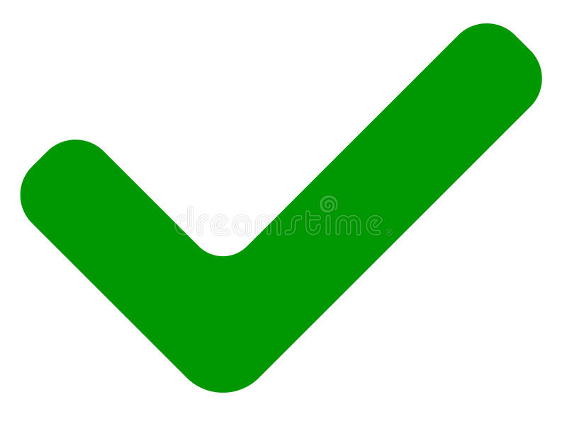 Marca de cotejo verde plana simple, icono de la señal en blanco stock de ilustración