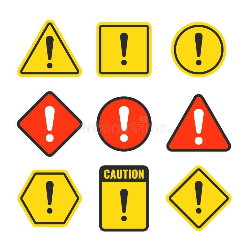 A marca de exclamação é cuidadoso ícones Sinais da atenção e do cuidado Símbolo de advertência do vetor do perigo isolado ilustração stock
