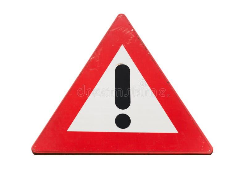 Marca de exclamação de advertência do preto do withh do sinal de estrada fotografia de stock royalty free