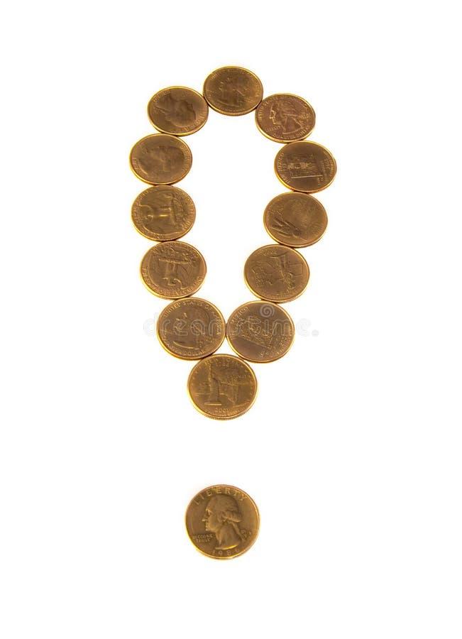 Marca de exclamação de moedas de ouro no branco foto de stock royalty free
