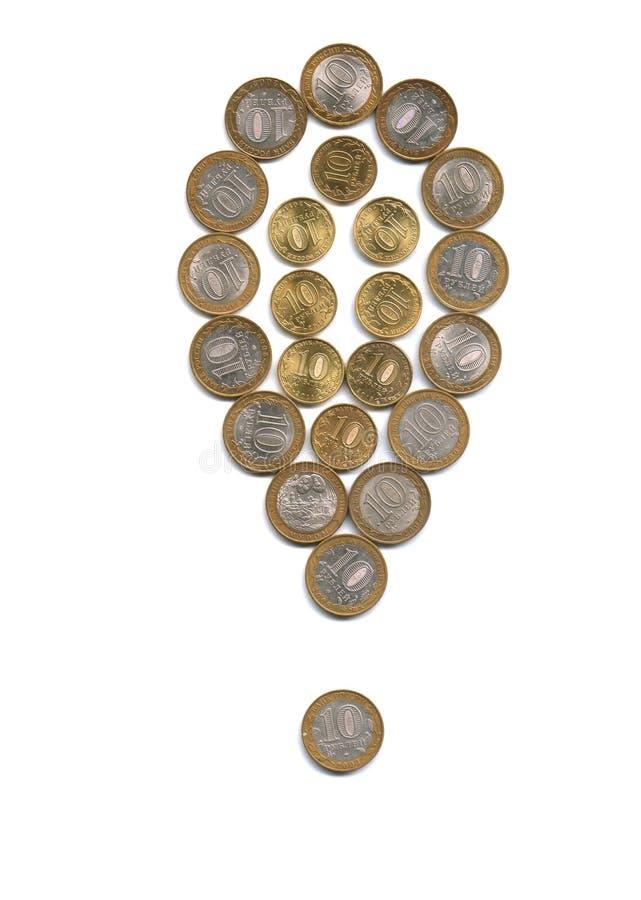 Marca de exclamação do dinheiro fotos de stock