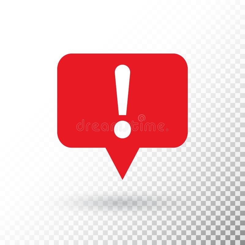 Marca de exclamação na bolha vermelha do discurso Símbolo de advertência do perigo no estilo liso do projeto Botão da atenção iso ilustração royalty free