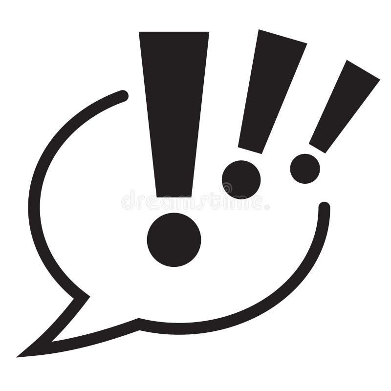 Marca de exclamação no ícone da bolha do discurso Ícone do sinal da atenção ilustração do vetor