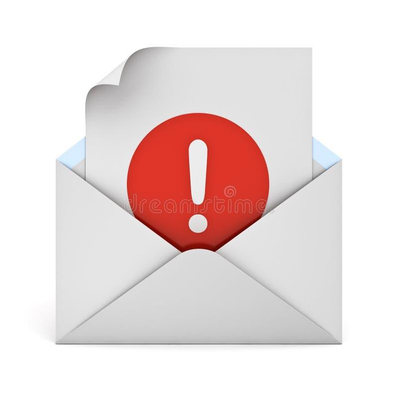 Marca de exclamación alerta del concepto del correo electrónico en el papel en el sobre aislado en el fondo blanco libre illustration