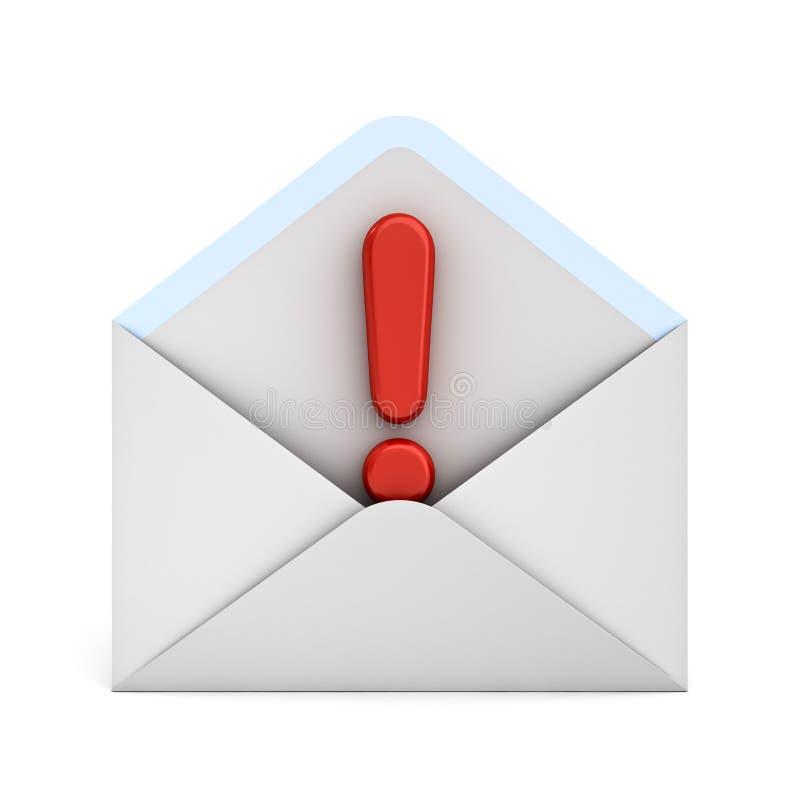 Marca de exclamación alerta del concepto del correo electrónico en el sobre blanco aislado en el fondo blanco stock de ilustración