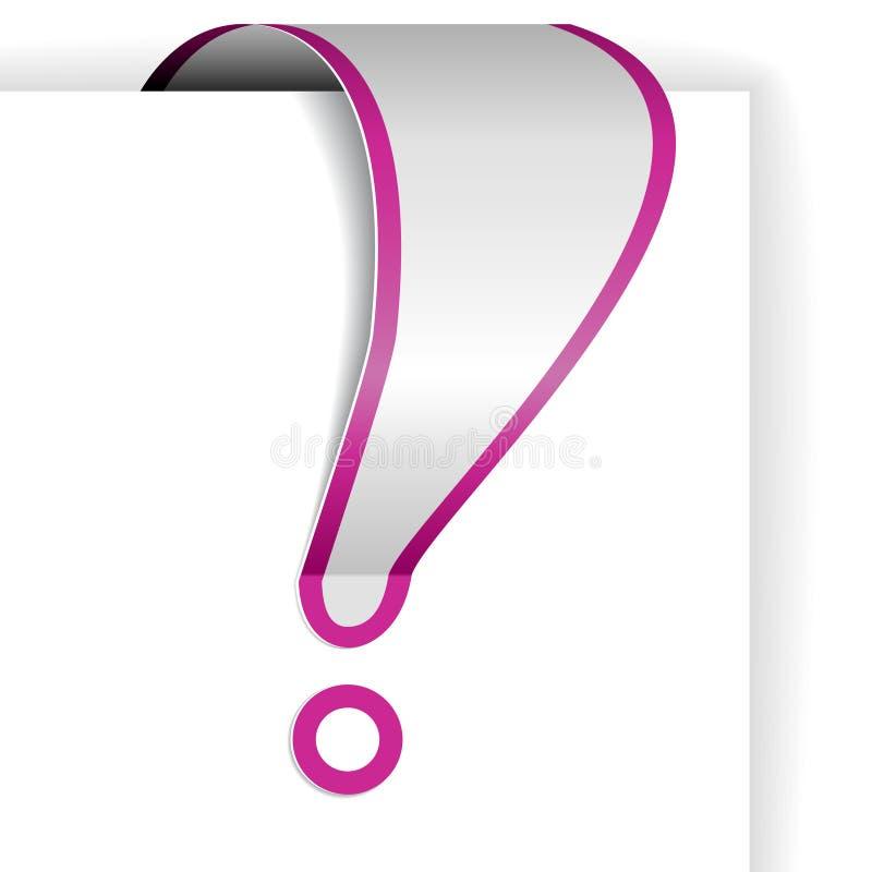 Marca de exclamación blanca con la frontera púrpura ilustración del vector