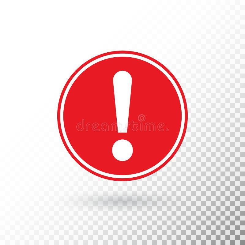 Marca de exclamación en el círculo rojo aislado en fondo transparente símbolo amonestador Botón de la atención Marca de exclamaci ilustración del vector