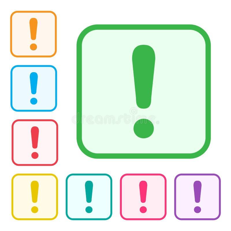 Marca de exclamaci?n Muestra de la advertencia o de la atenci?n Iconos adicionales de las versiones del icono verde y del sistema stock de ilustración