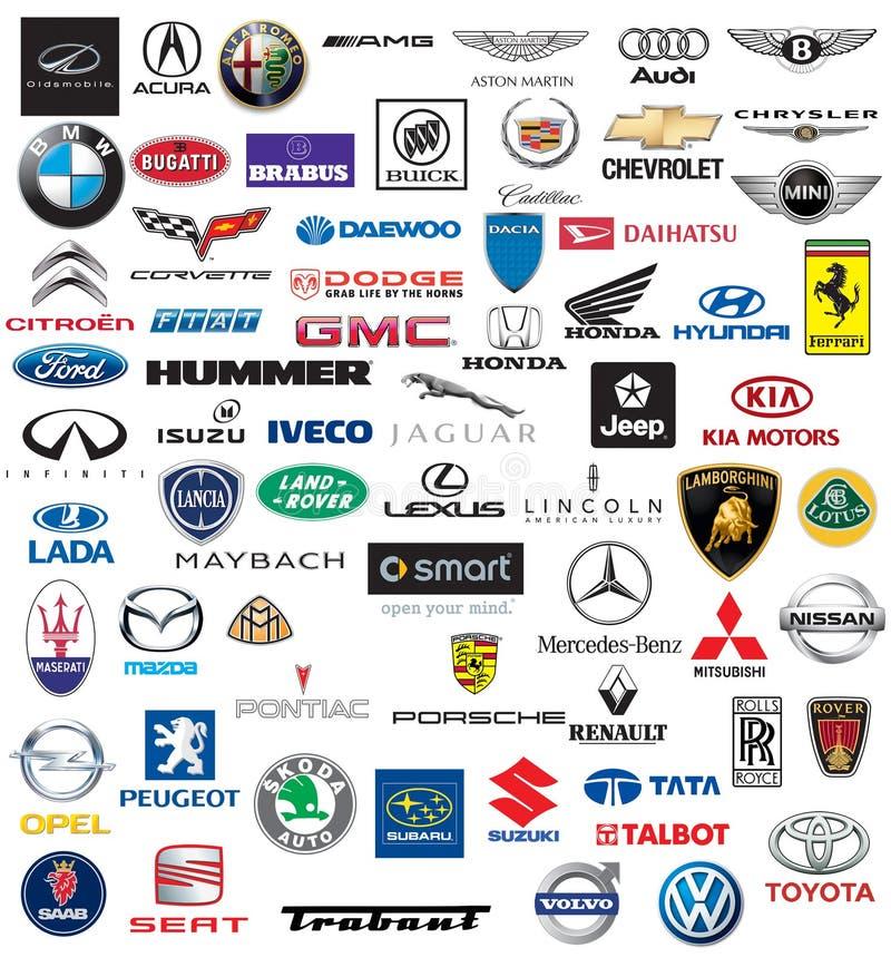 Marca de fábrica del mundo de los logotipos de los coches ilustración del vector