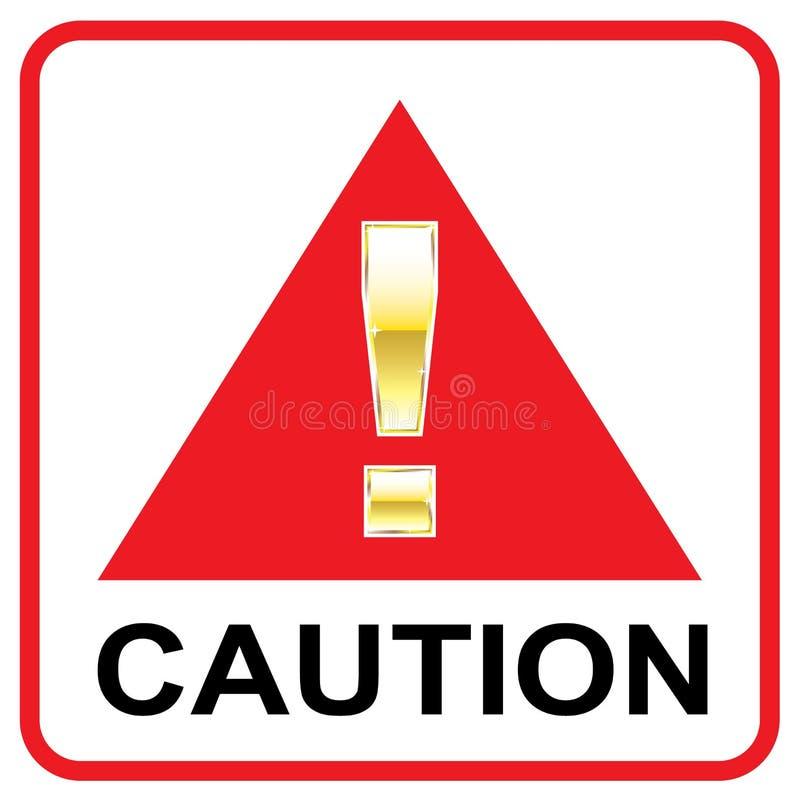 Marca de la atención del oro en triángulo rojo del vector de la precaución de la muestra stock de ilustración
