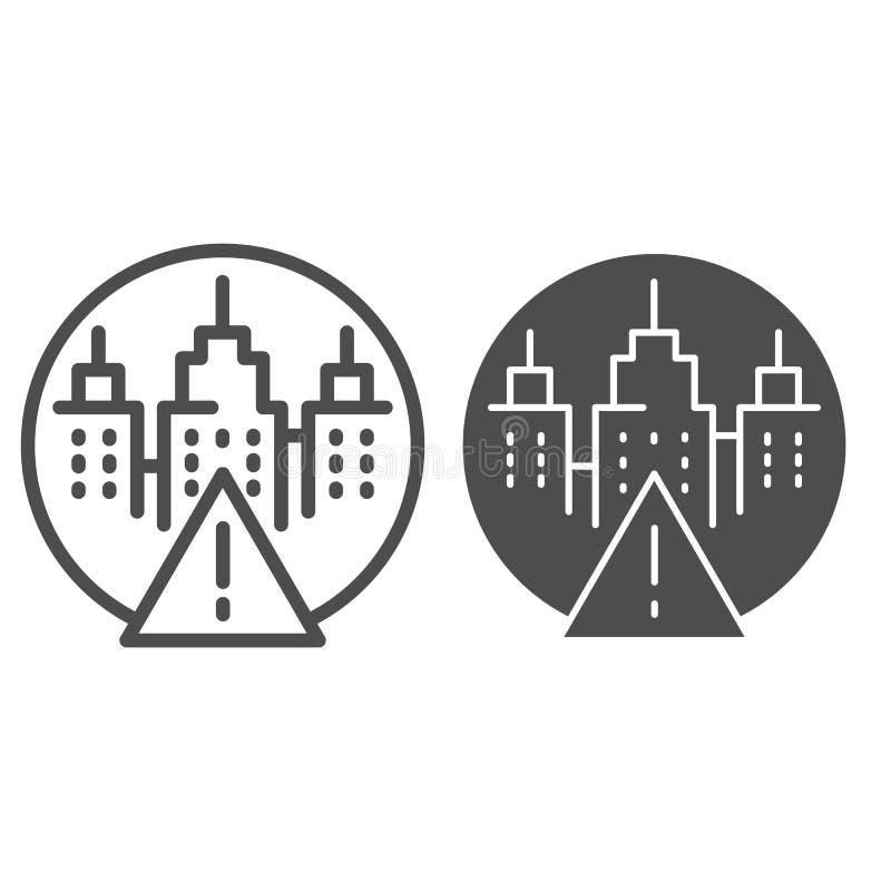 Marca de la atención y línea del paisaje de la ciudad e icono del glyph Señal de peligro y ejemplo del vector de los rascacielos  ilustración del vector