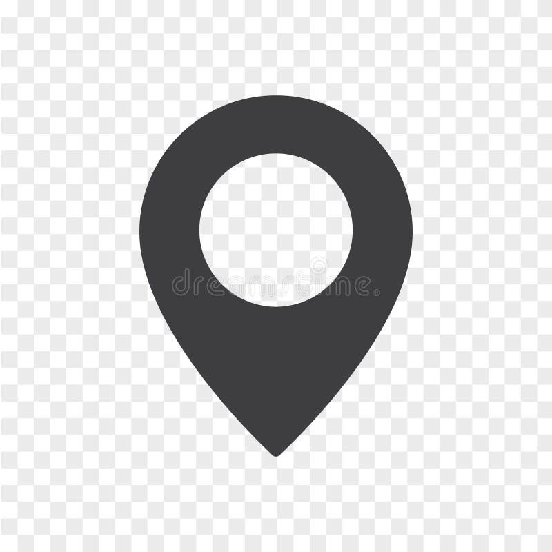 Marca de lugar simples isolada no fundo transparente ?cone do ponteiro do mapa ilustração do vetor