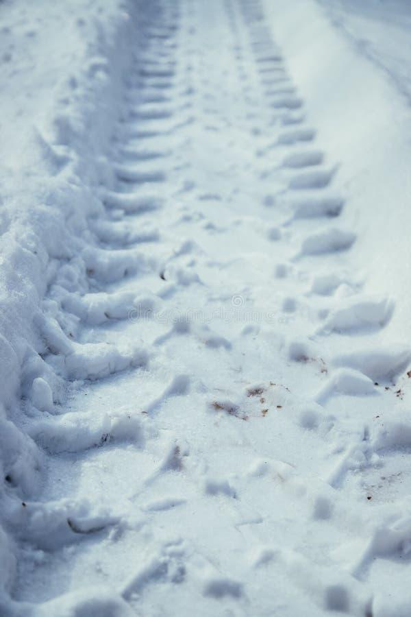 Marca de resbalón fresca en la nieve del polvo, afuera en el invierno foto de archivo libre de regalías