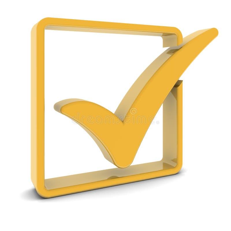 Marca de verificação dourada ilustração stock
