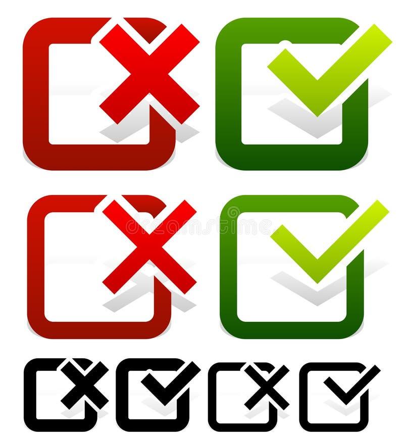 Marca de verificação e grupo da cruz ilustração stock