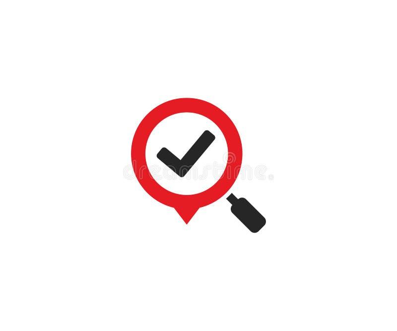 Marca de verificação em um molde do logotipo da lupa Projeto do vetor da marca da lente de aumento e do lugar ilustração do vetor