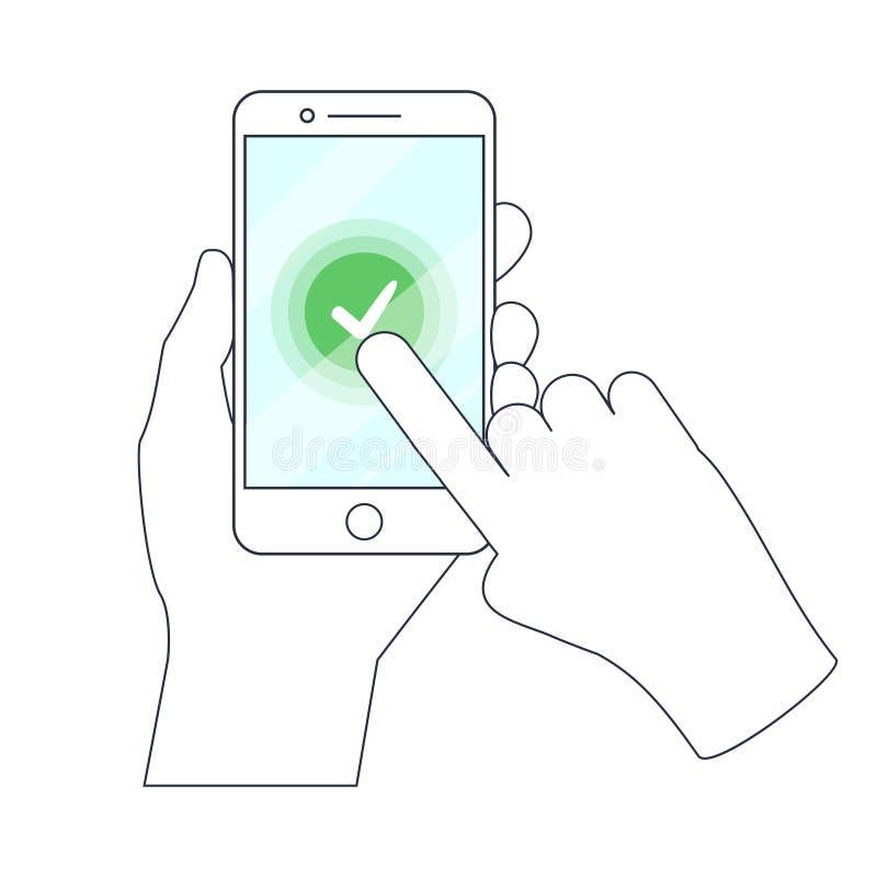 Marca de verificação na tela do Smart-telefone Mão que guarda o telefone ilustração stock