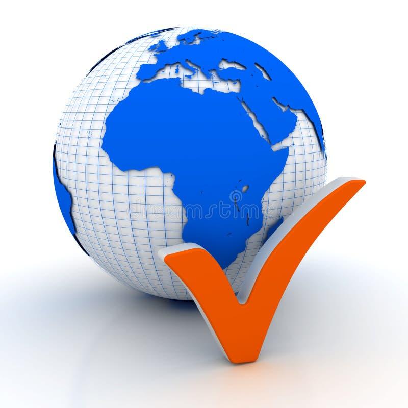 Marca de verificação no globo ilustração royalty free