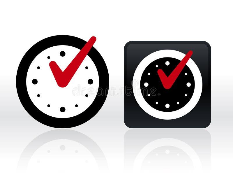 Marca de verificación en el reloj Ilustración aislada del vector ilustración del vector