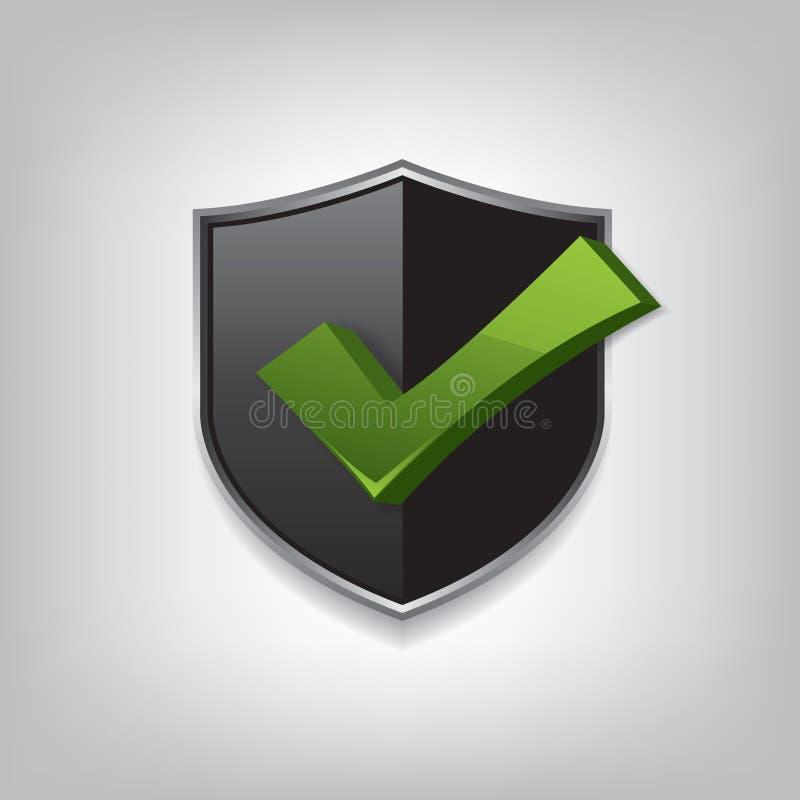 Marca de verificación negra vacía del escudo stock de ilustración