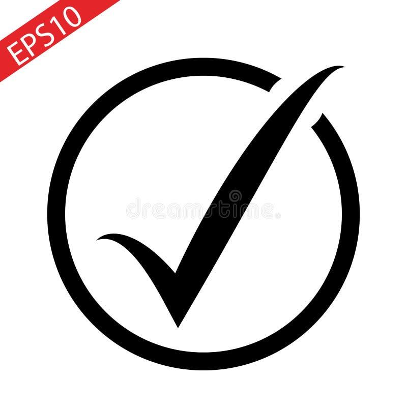 Marca de verificación o icono negra de la señal en un círculo aislado en el fondo blanco libre illustration