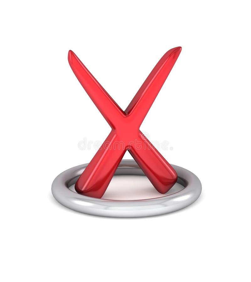 Marca de verificación roja de la cancelación foto de archivo libre de regalías