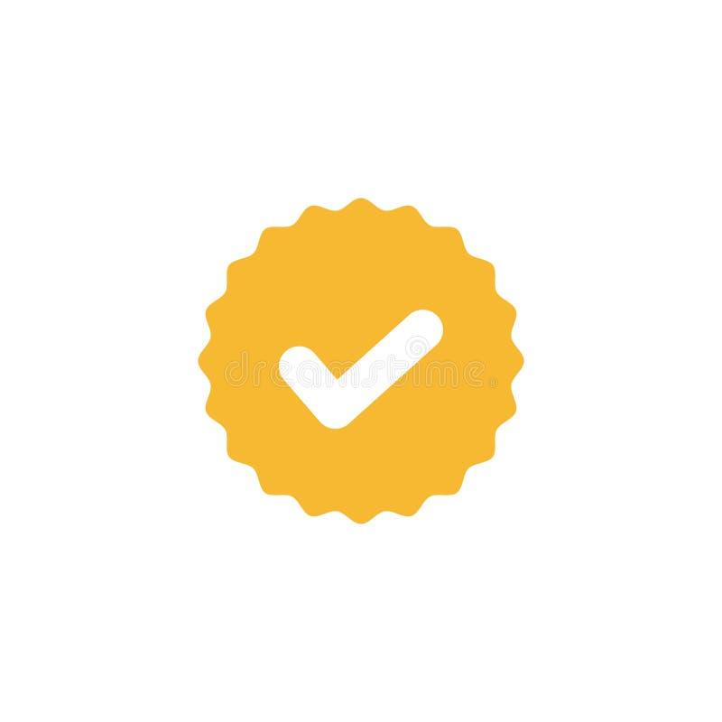 Marca de verificación, señal blanca en muestra amarilla del círculo Ejemplo válido del vector del icono del sello ilustración del vector