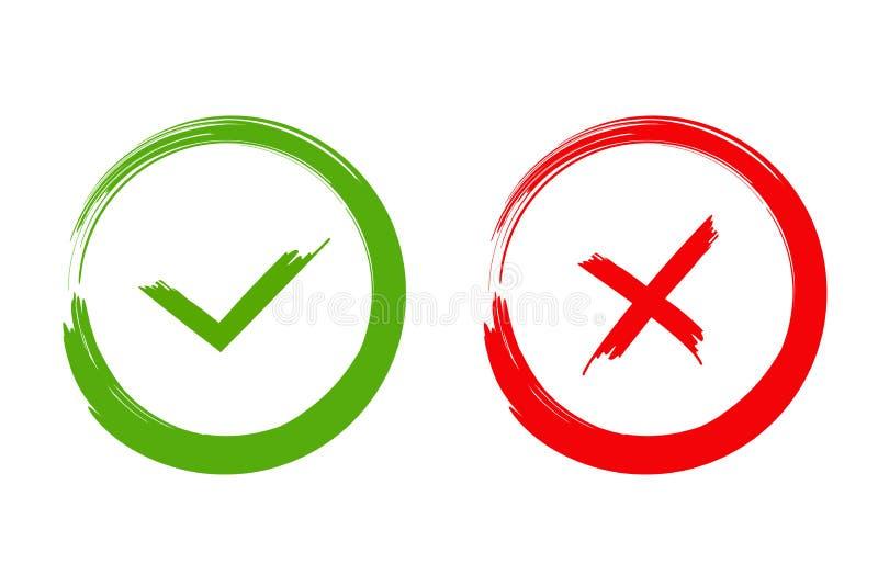 Marca de verificación verde ACEPTABLE e iconos rojos de X, aislados en el fondo blanco stock de ilustración